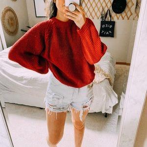 Vtg ribbed burgundy oversized grandpa sweater